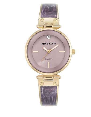 Anne Klein Analog Goldtone Enamel Semi-Bangle Bracelet Watch-PURPLE-One Size