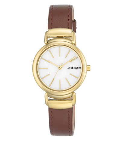 Anne Klein AK-2752MPBN Mother-of-Pearl Leather Strap Watch-BROWN-One Size