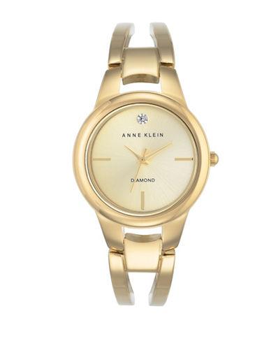 Anne Klein Faux Diamond Dial Goldtone Bracelet Watch-GOLD-One Size