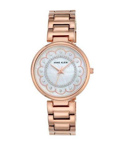 Anne Klein Crystals Rose Goldtone Analog Bracelet Watch-ROSE GOLD-One Size