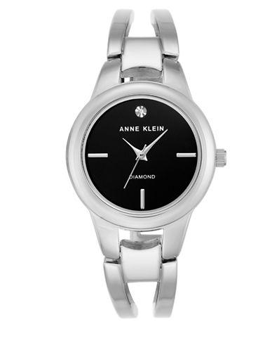 Anne Klein AK-2629BKSV Analog Bracelet Watch-SILVER-One Size