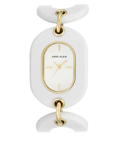 Anne Klein AK-2674BKGB White Analog Bracelet Watch-WHITE-One Size