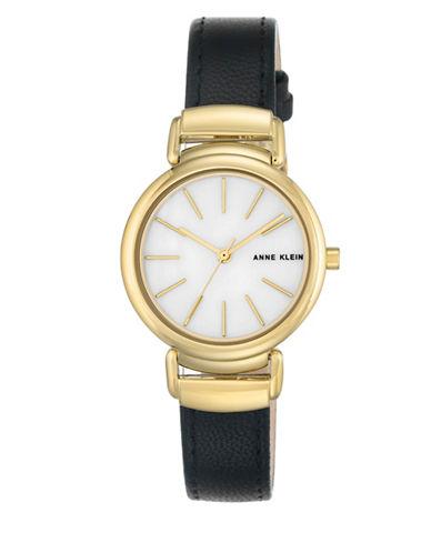 Anne Klein AK-2752MPBK Brown Analog Strap Watch-GOLD-One Size
