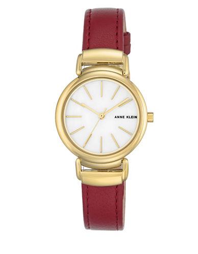 Anne Klein AK-2752MPBK Red Analog Strap Watch-GOLD-One Size