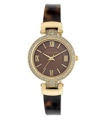 Anne Klein AK-2894BNTO Crystal Tortoise-Look Bangle Watch-GOLD-One Size