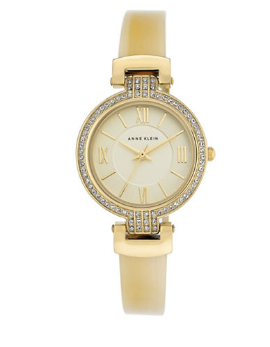 Anne Klein AK-2894BNTO Crystal Lucite Bangle Watch-GOLD-One Size