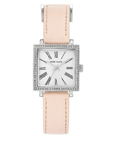 Anne Klein AK-2939SVLP Square Leather Strap Watch-SILVER-One Size