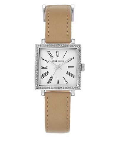 Anne Klein AK-2939SVLP Square Leather Strap Watch-GOLD-One Size