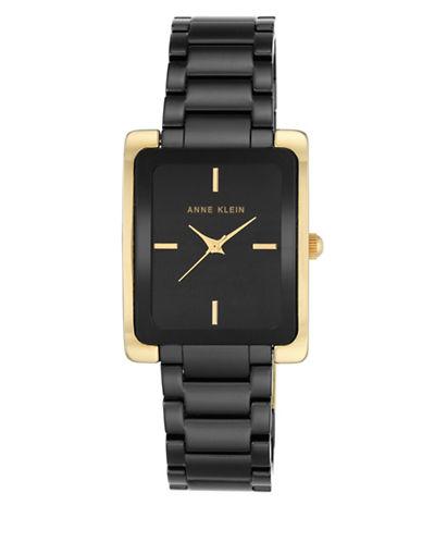 Anne Klein AK-2952BKGB Square Ceramic Bracelet Watch-BLACK/GOLD-One Size