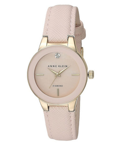 Anne Klein Analog Rose-Goldtone Mother-of-Pearl Textured Strap Watch-ROSE GOLD-One Size