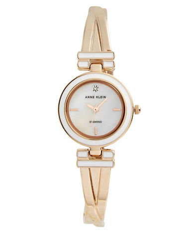 Anne Klein Analog White Dial Rose-Goldtone Bangle Watch-ROSE GOLD-One Size