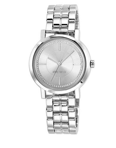 Nine West NW-1643SVSB Analog Stainless Steel Bracelet Watch-SILVER-One Size