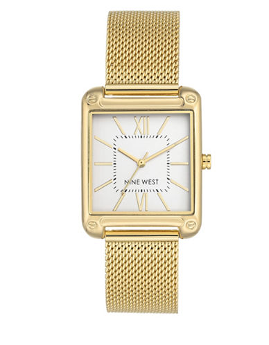 Nine West NW-2090SVGB Analog Goldtone Mesh Bracelet Watch-GOLD-One Size