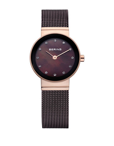 Bering Classic Analog Swarovski Crystal Rose Goldtone Watch-BROWN-One Size