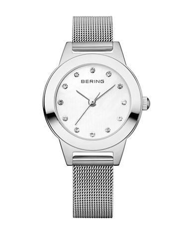 Bering Classic Analog Silvertone Bracelet Swarovski Crystal Watch-SILVER-One Size
