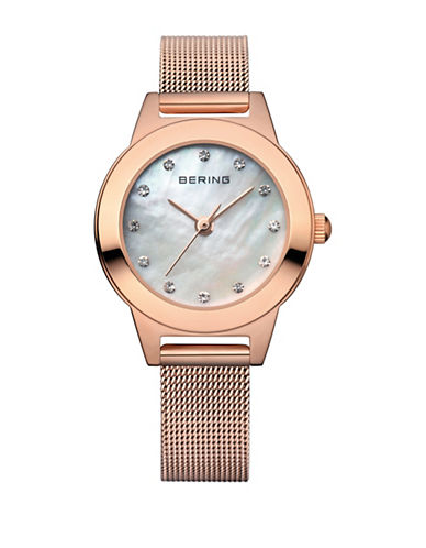 Bering Classic Analog Rose Goldtone Swarovski Crystal Watch-ROSE GOLD-One Size