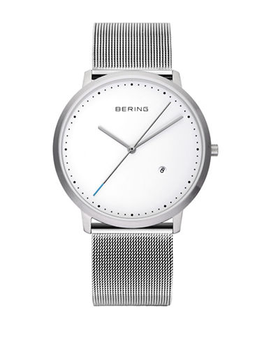 Bering Classic Analog Silvertone Dotted Watch-SILVER-One Size