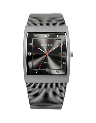 Bering Classic Analog Titanium Rectangle Watch-SILVER-One Size