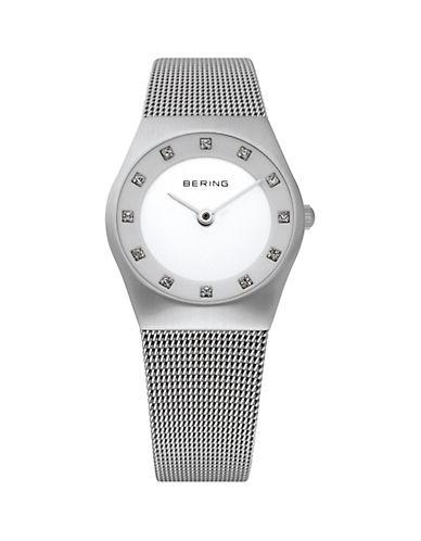 Bering Classic Analog Silvertone Swarovski Crystal Watch-SILVER-One Size
