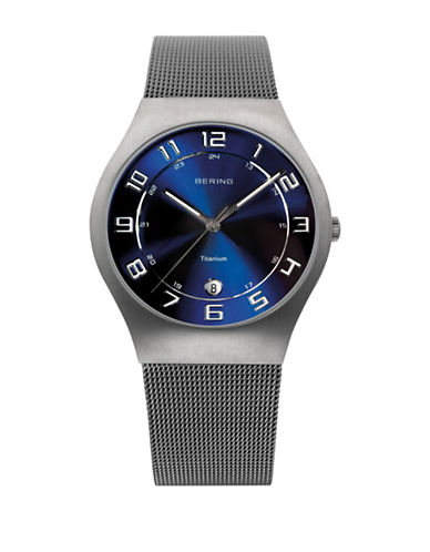 Bering Classic Analog Blue Dial Watch-SILVER-One Size