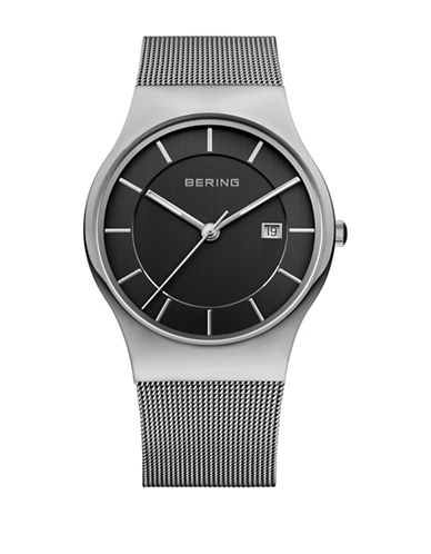 Bering Classic Analog Black Dial Mesh Bracelet Watch-SILVER-One Size
