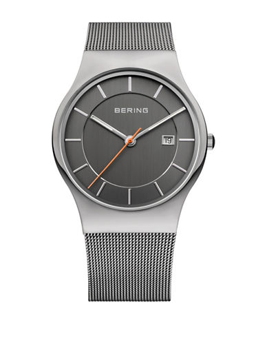 Bering Classic Analog Grey Stainless Steel Mesh Watch-SILVER-One Size