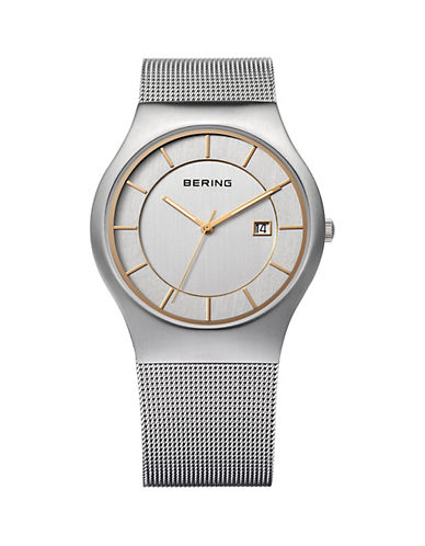 Bering Silver Dial Classic Stainless Steel Bracelet Watch-SILVER-One Size