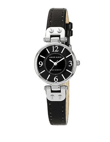 Anne Klein Ladies silver tone round watch with black leather band and silver tone lugs-BLACK-One Size