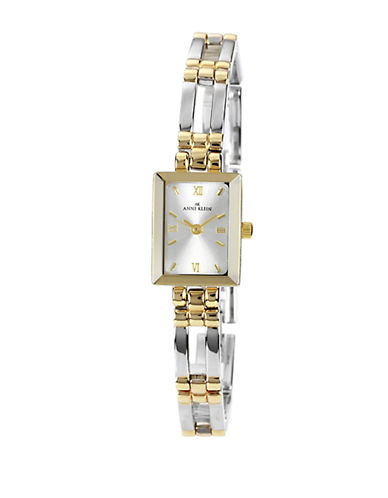 Anne Klein Two tone rectangular ladies dress watch with large link bracelet-TWO TONE-One Size