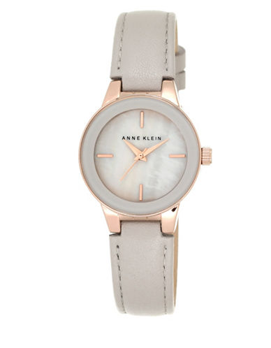Anne Klein Analog Rose-Goldtone Mother-of-Pearl Leather Strap Watch-ROSE GOLD-One Size