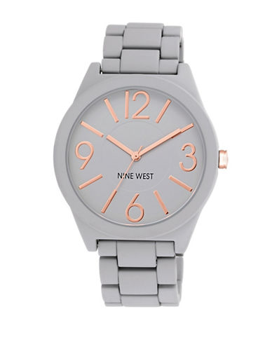 Nine West 1678GYRG Rubberized Bracelet Strap Watch-GREY-One Size