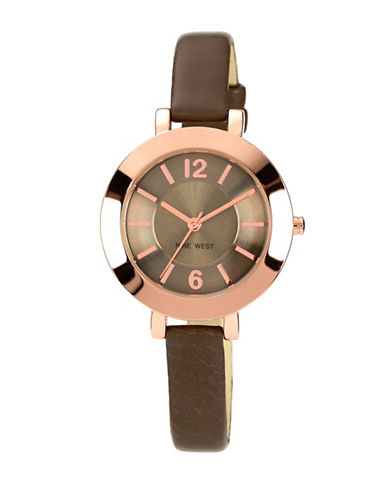 Nine West 1319RGGY Stainless Steel Watch-BROWN-One Size