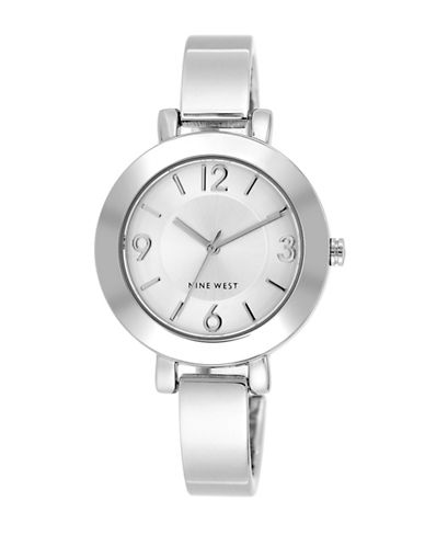 Nine West 1631SVSB Silvertone Semi-Bangle Bracelet Watch-SILVER-One Size