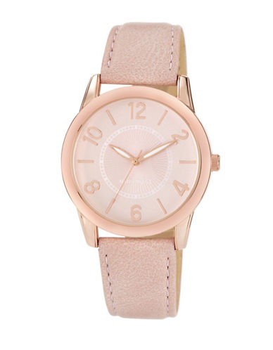 Nine West 1158PKRG Stainless Steel Watch-PINK-One Size