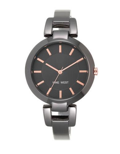 Nine West 1797GNGN Stainless Steel Bangle Bracelet Watch-GUNMETAL-One Size