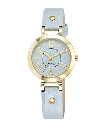 Nine West 1712LBLB Goldtone Stainless Steel Watch-BLUE-One Size