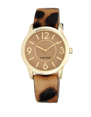 Nine West Leopard Print Analog Watch 1786CMLE-BROWN-One Size