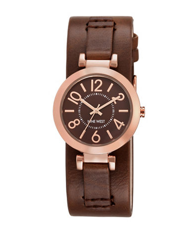Nine West 1866BNRG Goldtone Stainless Steel Watch-BROWN-One Size