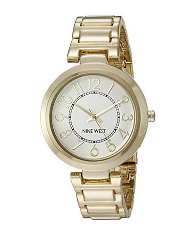 Nine West 1892SVGB Two-Tone Stainless Steel Bracelet Strap Watch-GOLD-One Size