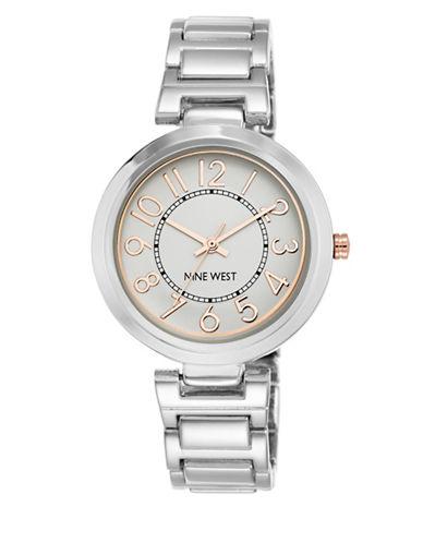 Nine West 1893SVRT Stainless Steel Bracelet Strap Watch-SILVER-One Size