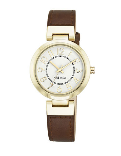 Nine West Goldtone Stainless Steel and Brown Watch-BROWN-One Size