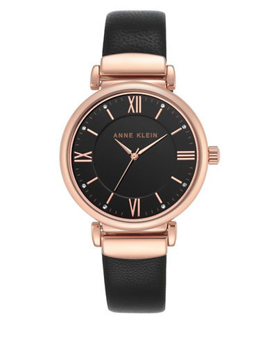 Anne Klein Analog AK-2666RGBK Black Leather Strap Watch-BLACK-One Size