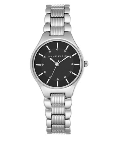 Anne Klein Analog AK-2067BKSV Silver Stainless Steel Watch-SILVER-One Size