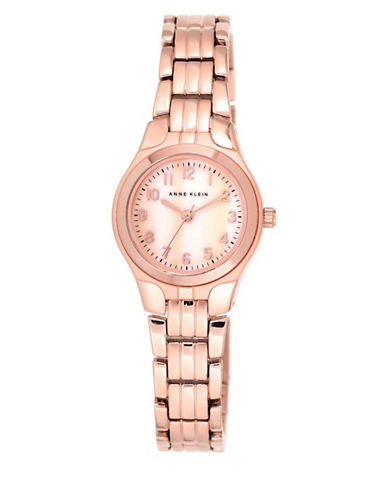 Anne Klein Analog Mother-of-Pearl Dial Rose-Goldtone Bracelet Watch-PINK-One Size