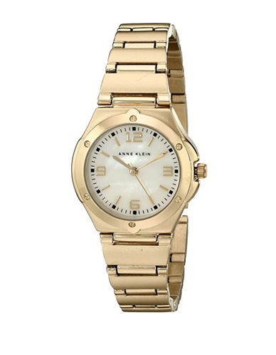 Anne Klein Analog Screw Bezel Goldtone Bracelet Watch-GOLD-One Size
