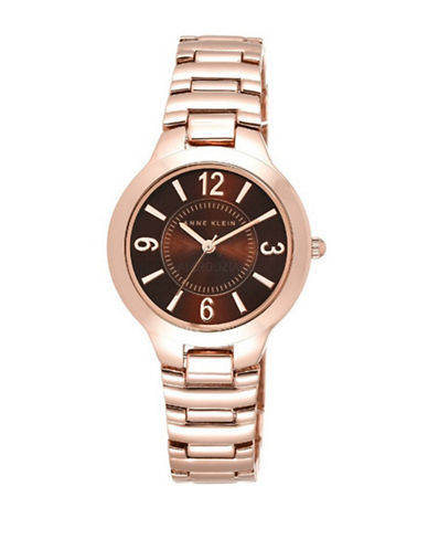 Anne Klein Analog Brown Dial Rose-Goldtone Bracelet Watch-PINK-One Size