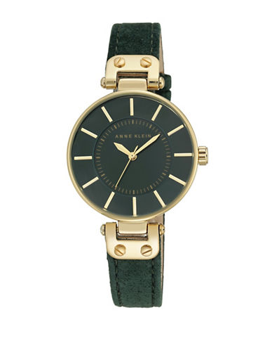 Anne Klein Analog Goldtone Case Green Burnished Leather Strap Watch-GREEN-One Size