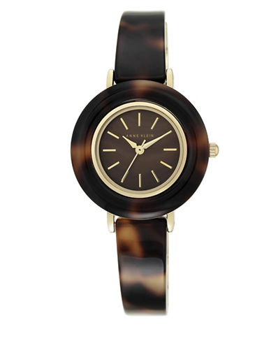 Anne Klein Tortoise Case and Bangle Analog Lucite Watch-BROWN-One Size