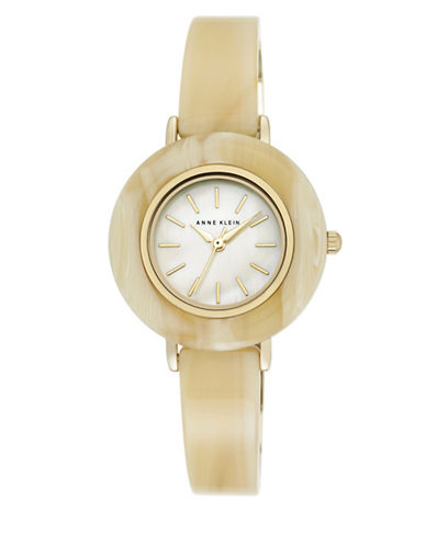 Anne Klein Horn Case  and Bangle G Analog Watch-BEIGE-One Size