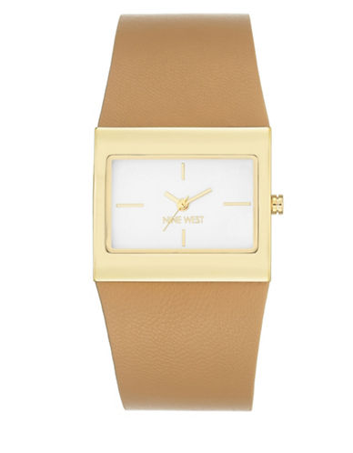 Nine West Square Analog Goldtone Leather Strap Watch-BROWN-One Size